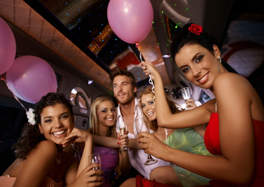 Hen party in limousine